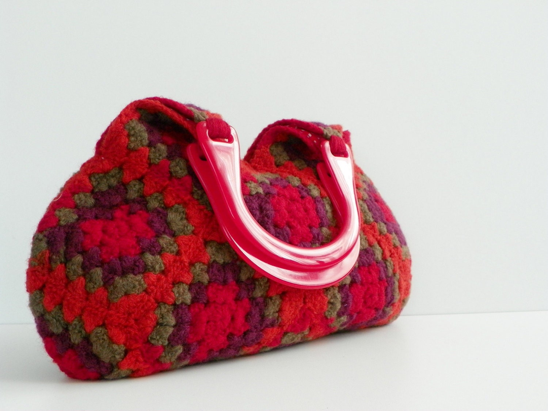 NzLbags-войлочная шерсть вязание крючком Бабушка площади Сумочка - Оттенки Замечательный Цвет - Nr-0201