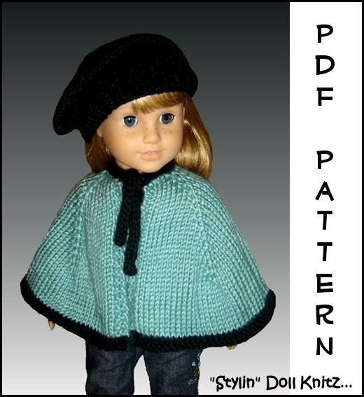 Knitting Pattern Dolls Cape : Knitting pattern. Fits American Girl Doll. Cape by StylinDollKnitz