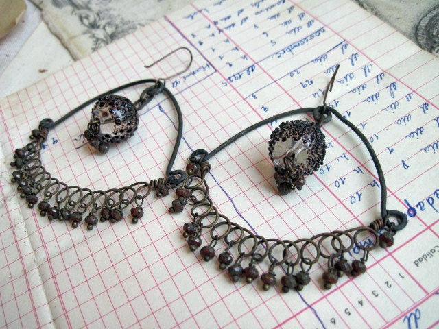 The Sole Nobility. Rustic Gypsy Assemblage Dangle Hoop Earrings.