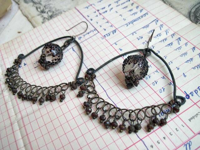 The Sole Nobility. Rustic Gypsy Assemblage Dangle Hoop Earrings.