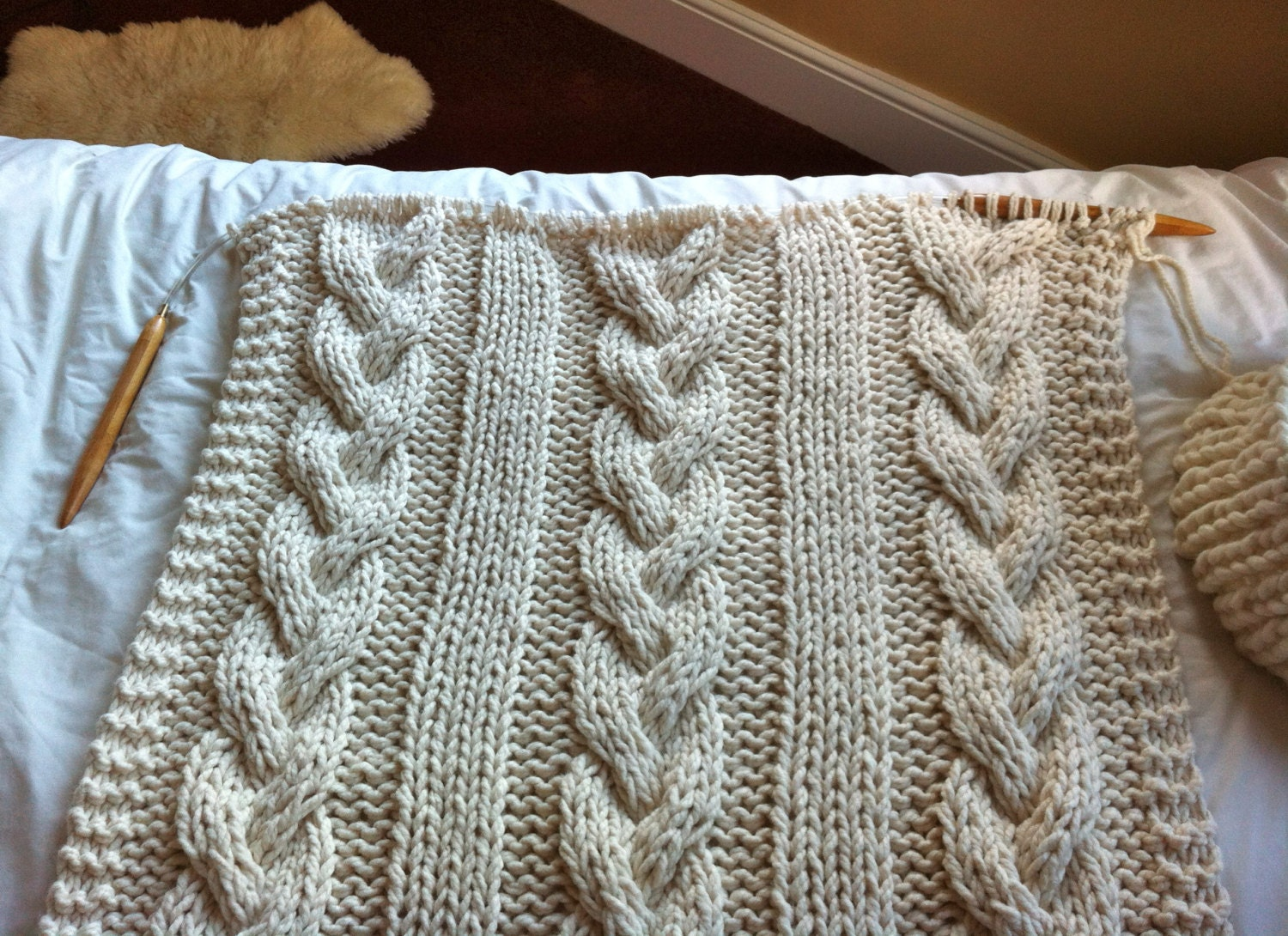 Giant Knit Blanket Pattern : Giant Cable Knit Blanket or Throw by Knittingrev on Etsy