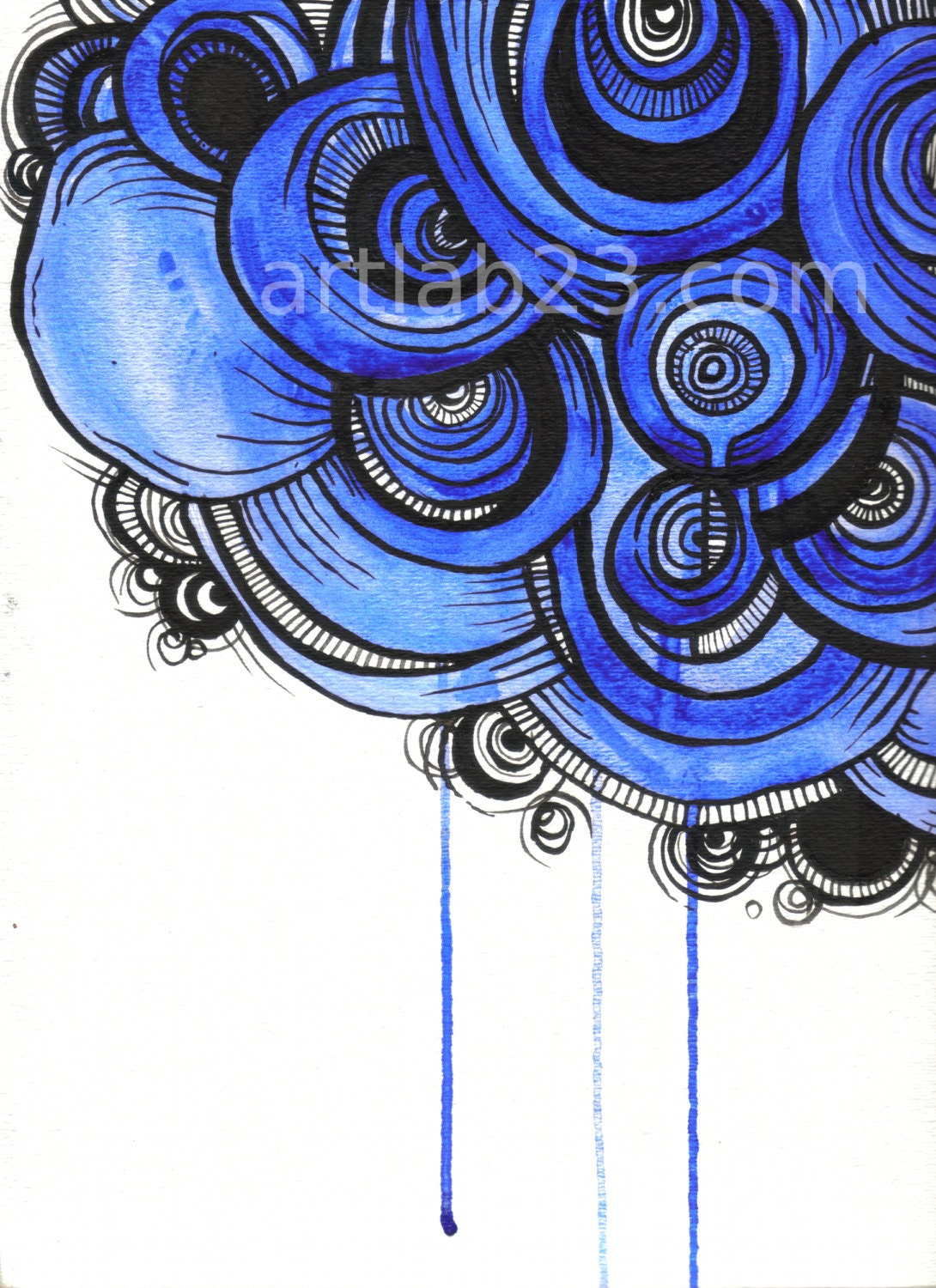 Blue Drips Abstract Painting - Original Gouache & Ink on Watercolor Paper - royal blue organic modern art - artLAB23
