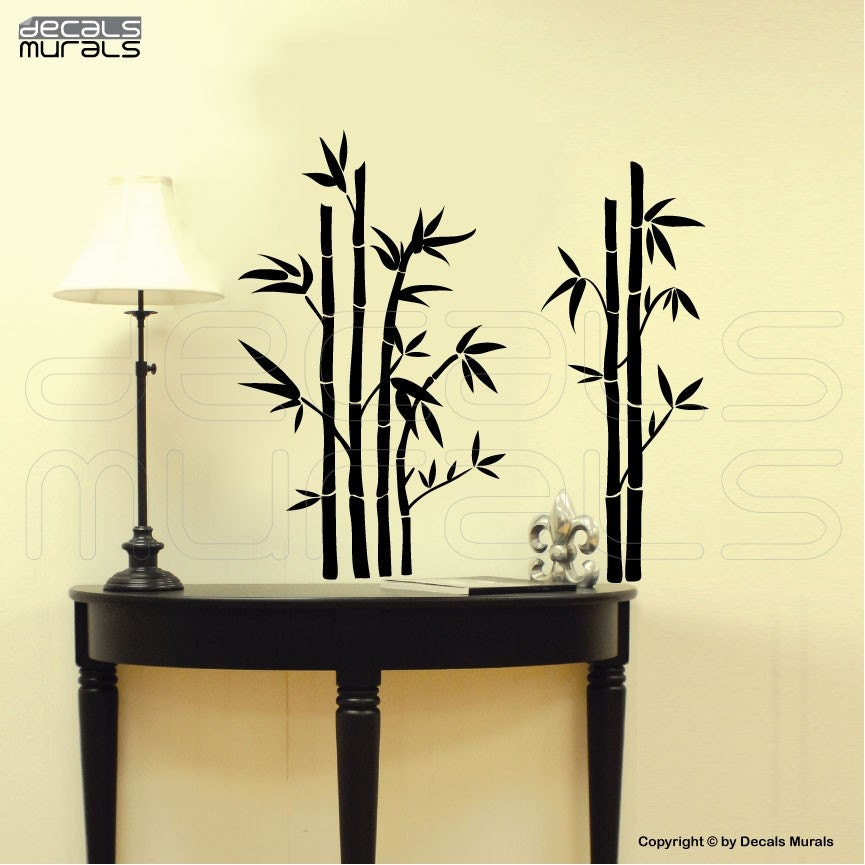 Wall decals bamboo modern wall stickers vinyl art by for Bamboo wall art
