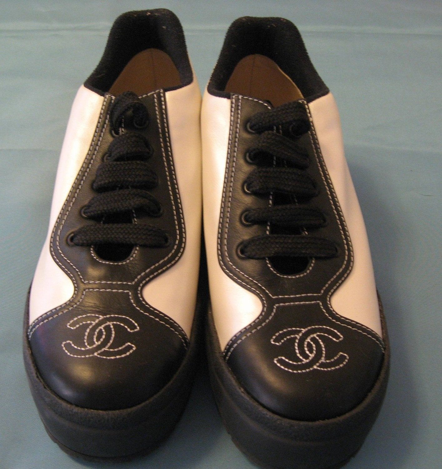 chanel black white tennis shoes by spottyd on etsy