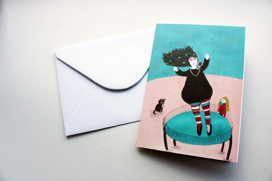 Higher - blank greeting card A 6 size white envelope birthday card for mom girl jumping on trampoline whimsical card dog card for friend - jokamin