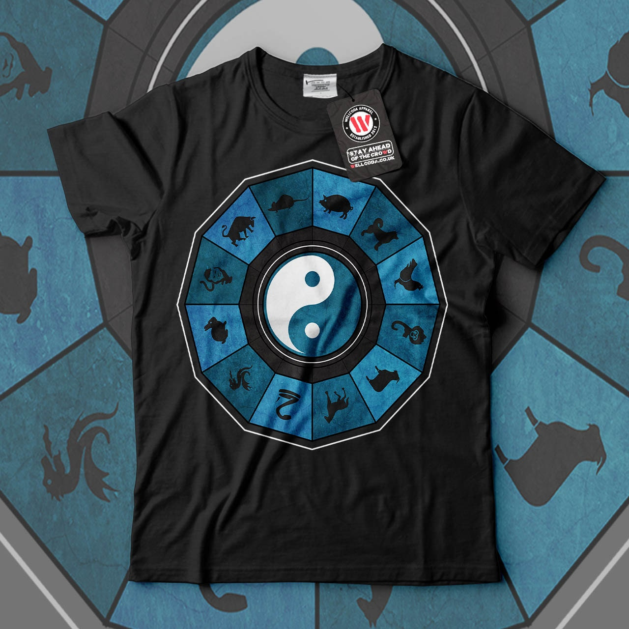 Chinese Zodiac Animal Sign Men Black White Grey Red Royal Blue Tshirt S5XL NEW  Wellcoda y3339
