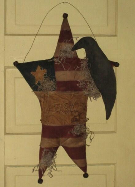 Primitive Americana Flag Star Door Hanger By Homespuncreationsjdc