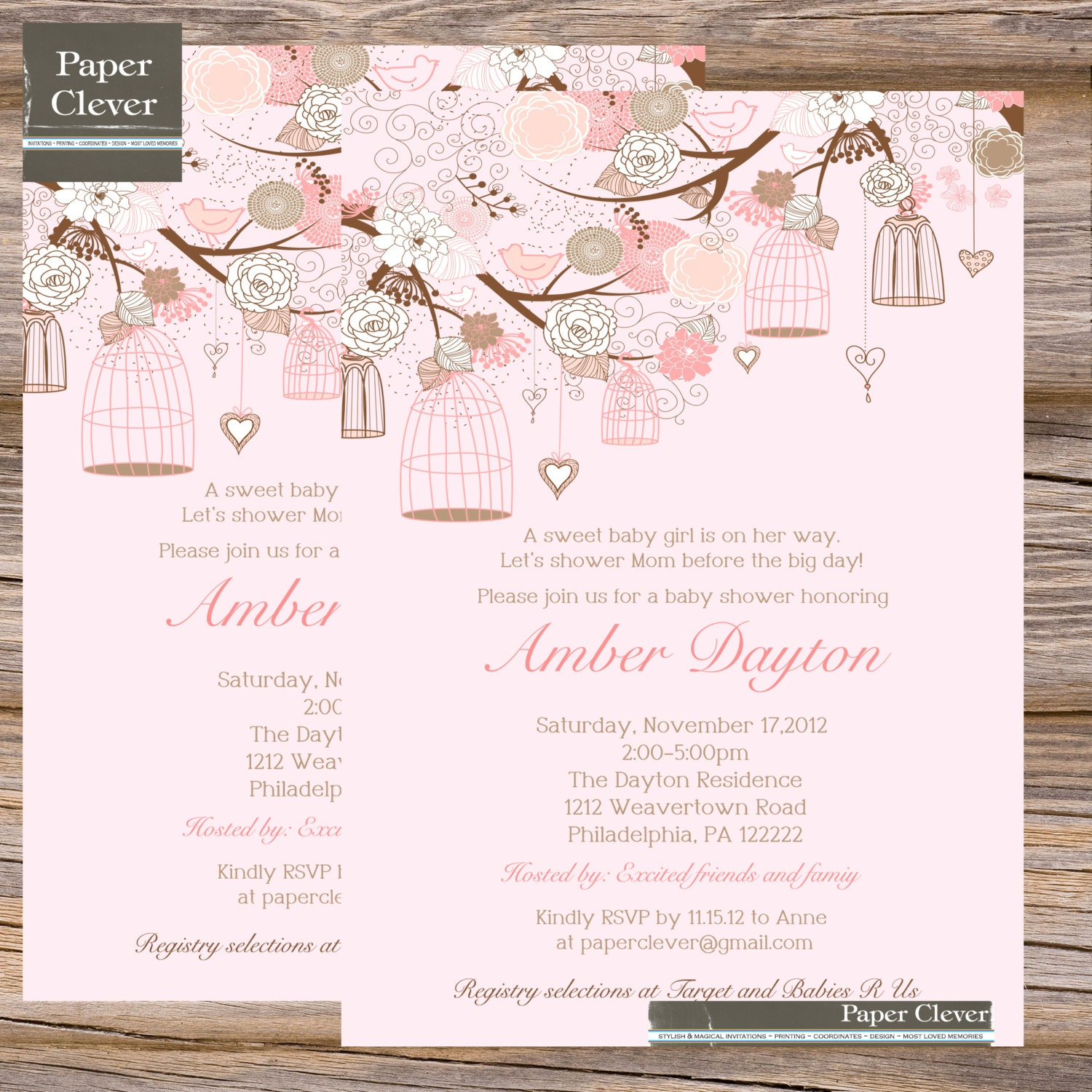 girls baby shower invitation pink shabby chic bird cage digital file