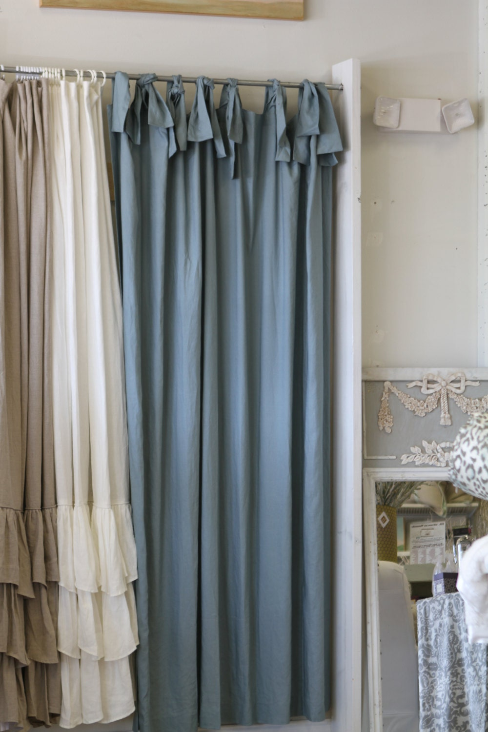 74x96 Asw Shower Curtain With Ties Blue Linen By Ldlinens