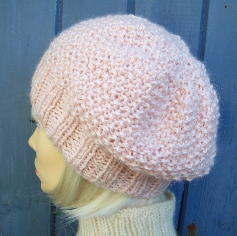 Easy Knit Hat Pattern Straight Needles : Bramble WOMANS HAT PATTERN Handknit Chunky Slouch Hat ...