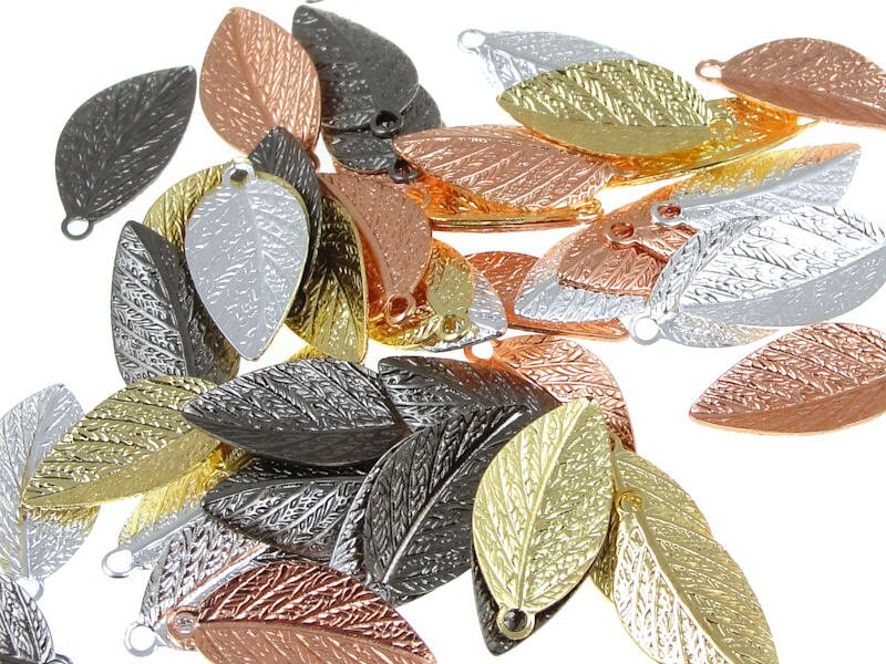 Autumn Leaves 48 Mixed Metal Leaf Charms 15mm x 7mm - LythaStudios