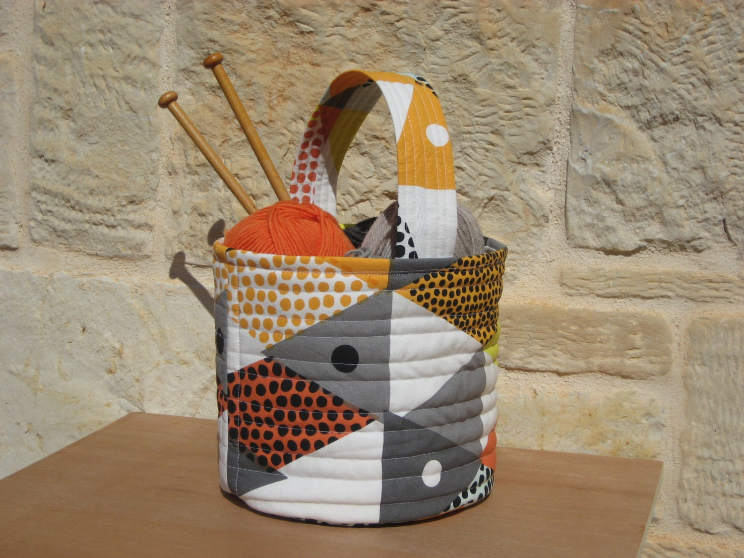 Knitting Basket With Handles : Fabric basket knitting toy with handle by