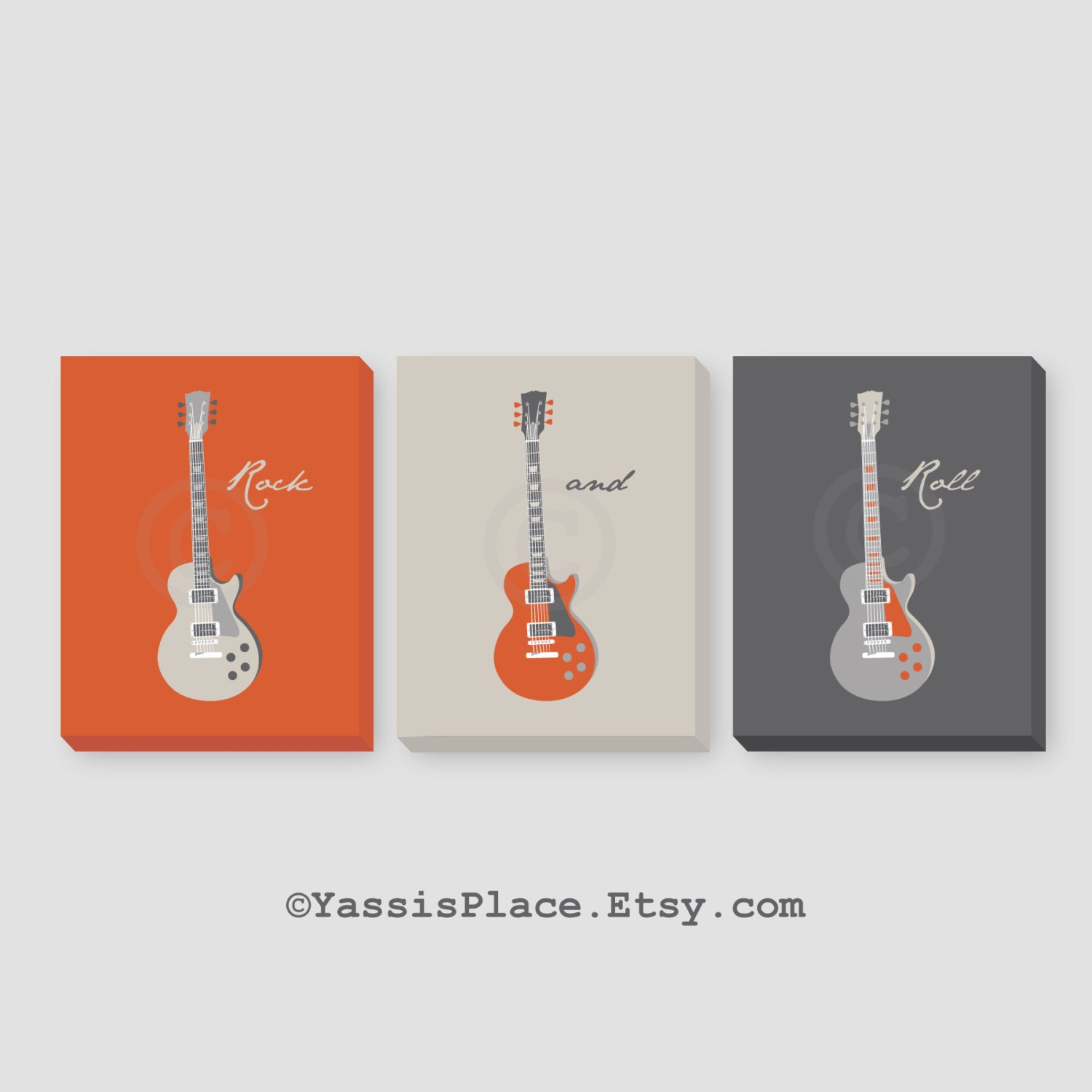Guitars CANVAS Art Kids Wall Art Baby Boy Nursery By YassisPlace