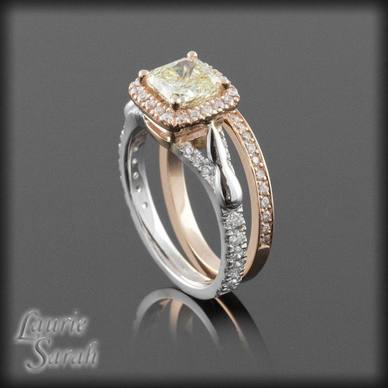 radiant cut canary diamond wedding set in by With canary diamond wedding ring sets