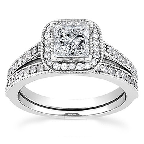 1 15ct princess cut halo vintage engagement ring by pompeii3