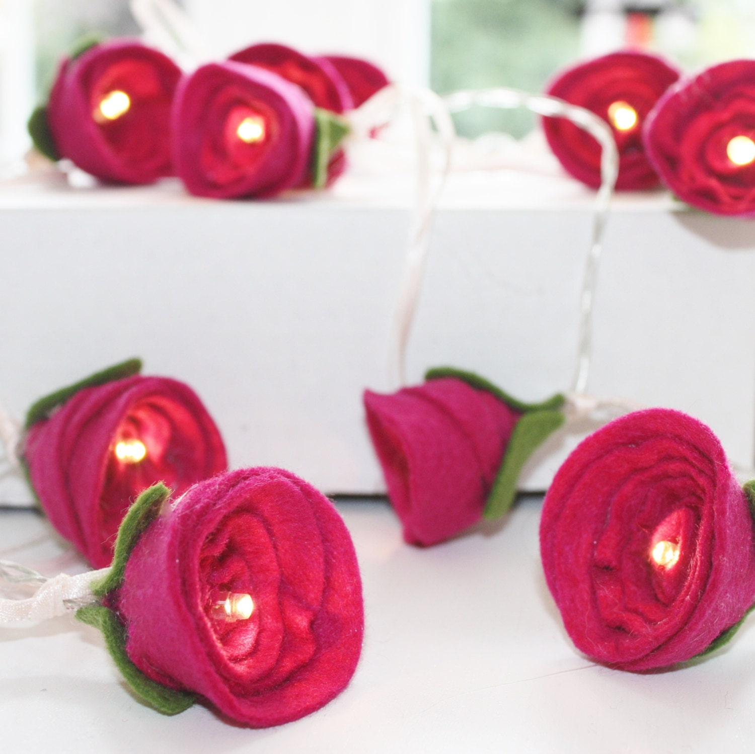 Pink Rose Fairy Lights- new home gift, christening present, decorative fairy lights, pink felt - ButtonOwlBoutique