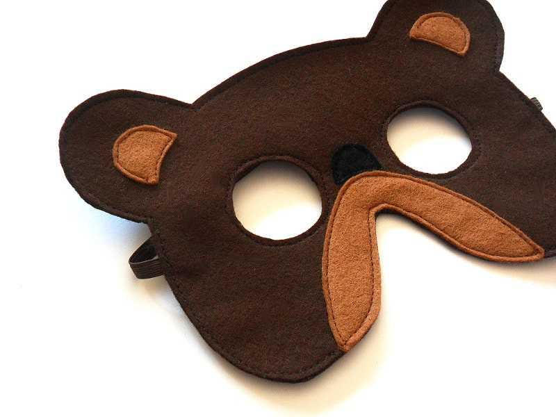 Bear Felt Children Mask Kids Carnival Mask, Dress up Costume Accessory, Pretend Play Toy for Girls Boys and Toddlers