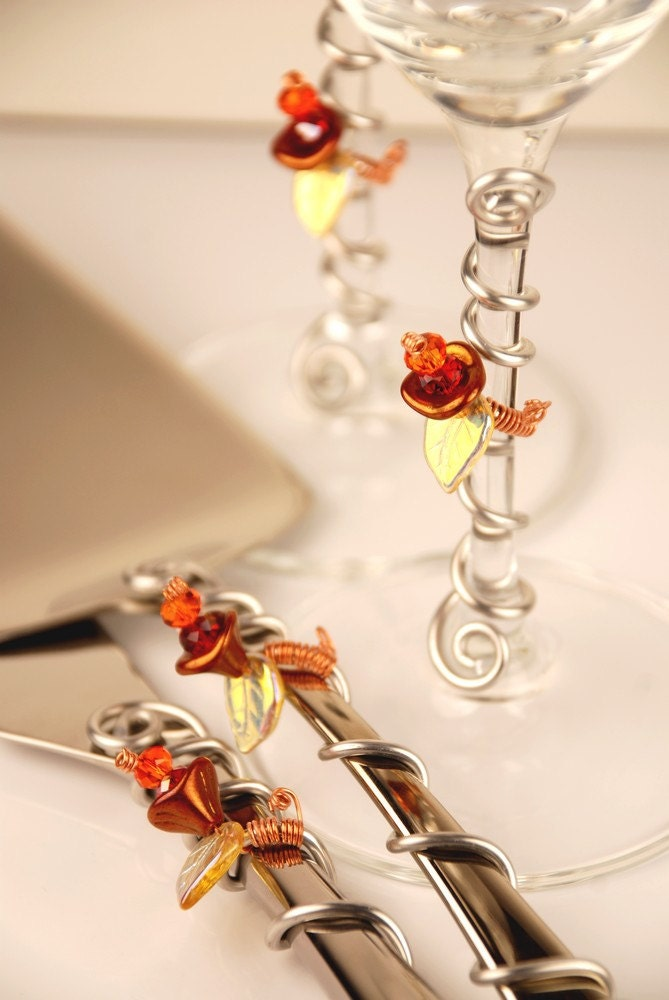 Autumn Glass Flowers Wedding Cake Knife And By TheVintageWedding