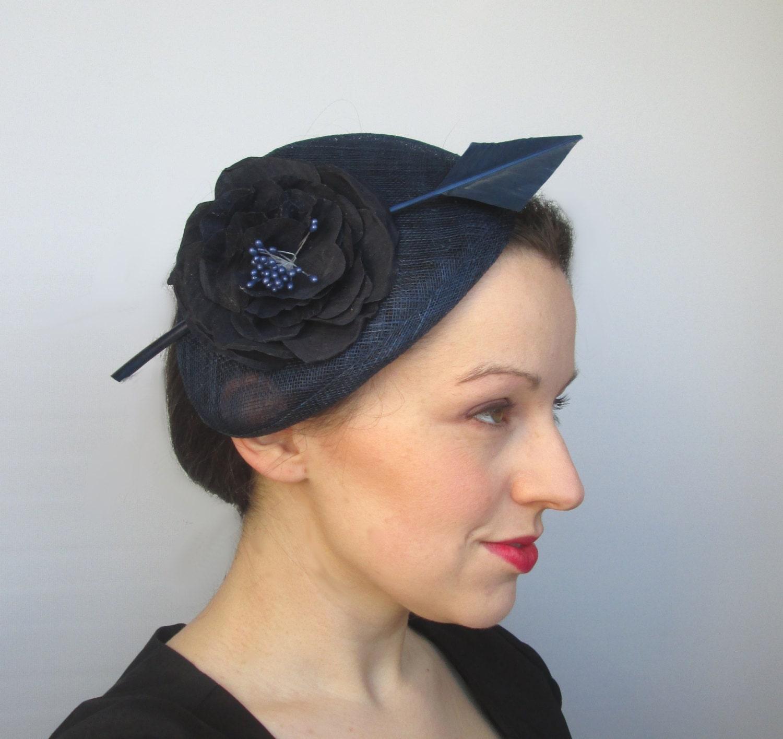 Navy Wedding Hat  Races Hat Perch Hat Navy Hat Womens Hat Derby Hat Ascot Hat Ladies Hat Navy Fascinator Party Hat