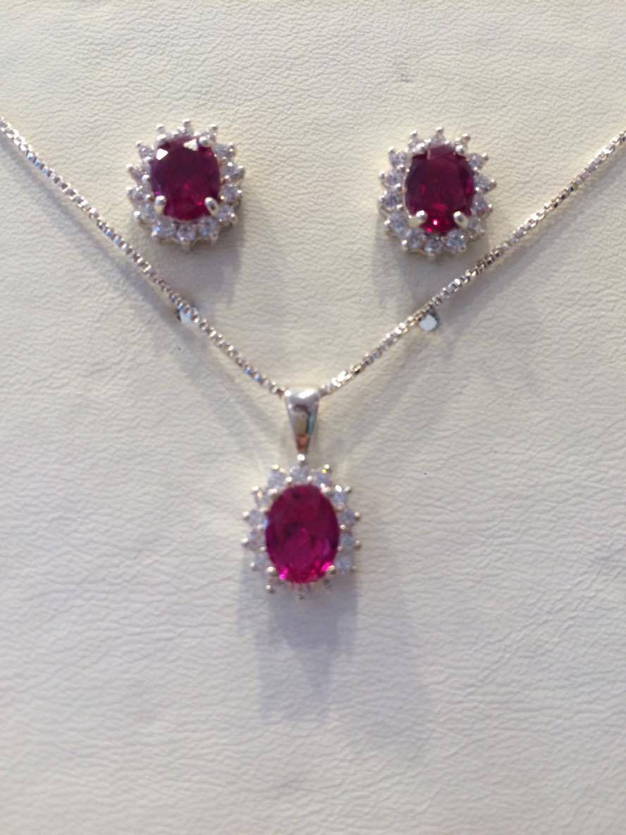 red cz silver pendant earring set 18 inch chain