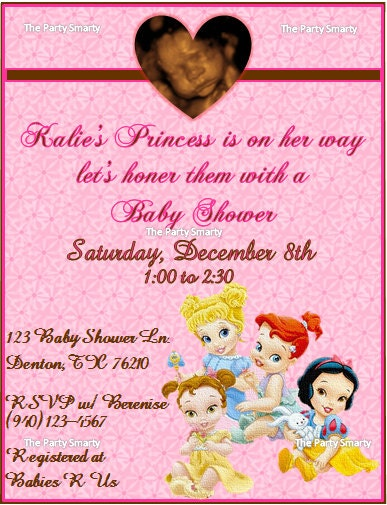 disney princess baby shower invitat ion