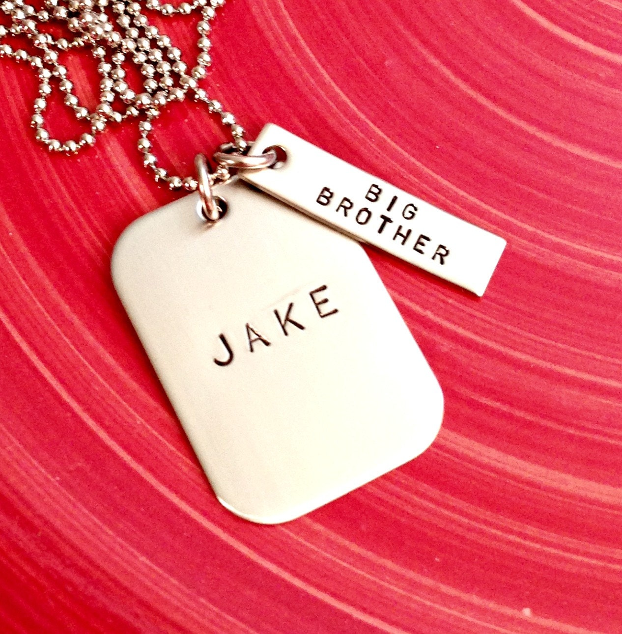 Wedding Gift For Big Brother : Big Brother Personalized Dog TagHand Stamped Necklace- Custom ...