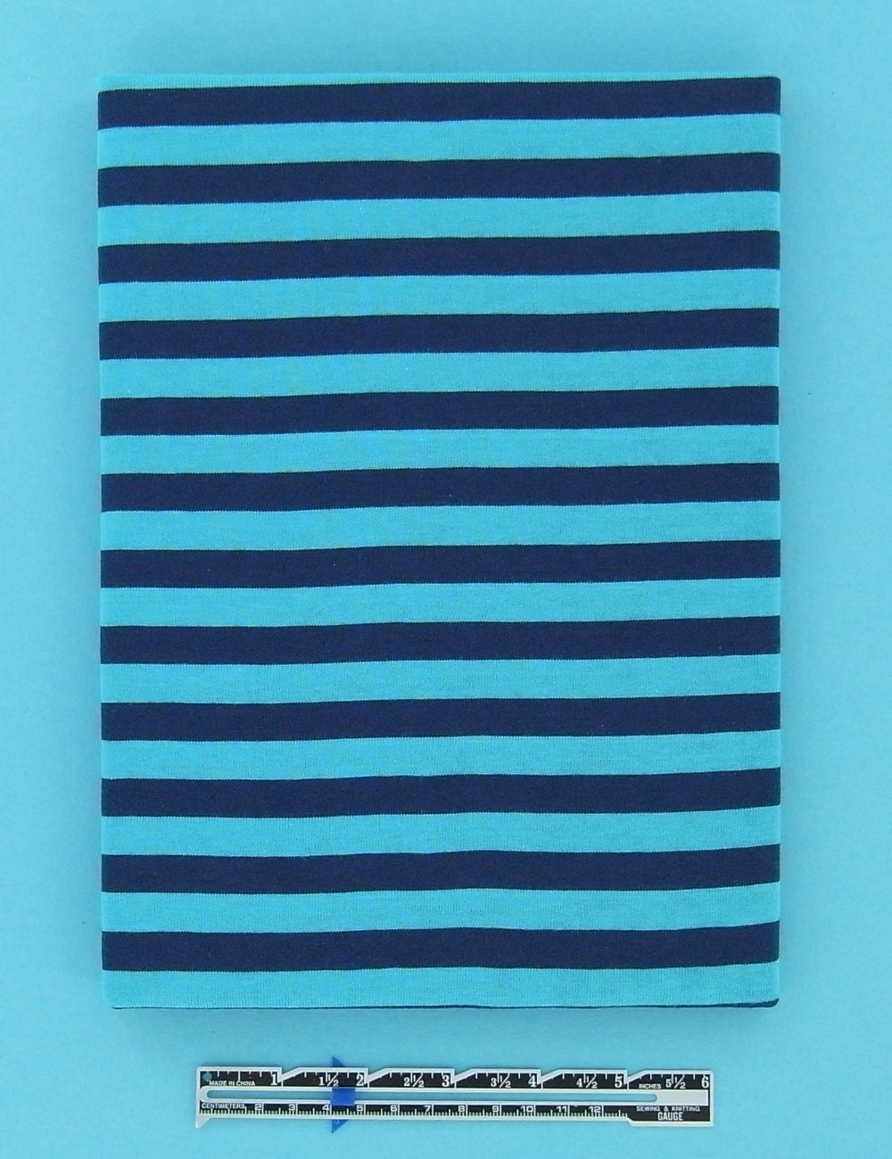 CONTEMPORARY STRIPES cotton single jersey in turquoise, 1 m (1.10 yards)