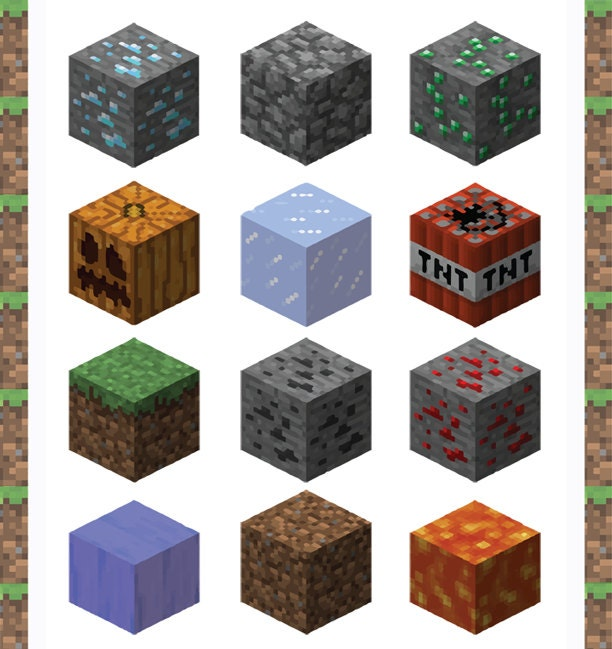 This is a graphic of Lively Minecraft Printable Blocks