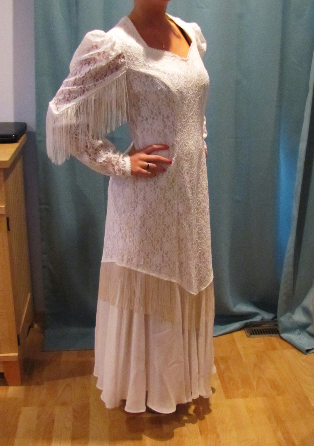 Vintage roper country western fringe wedding dress by for Western vintage wedding dresses