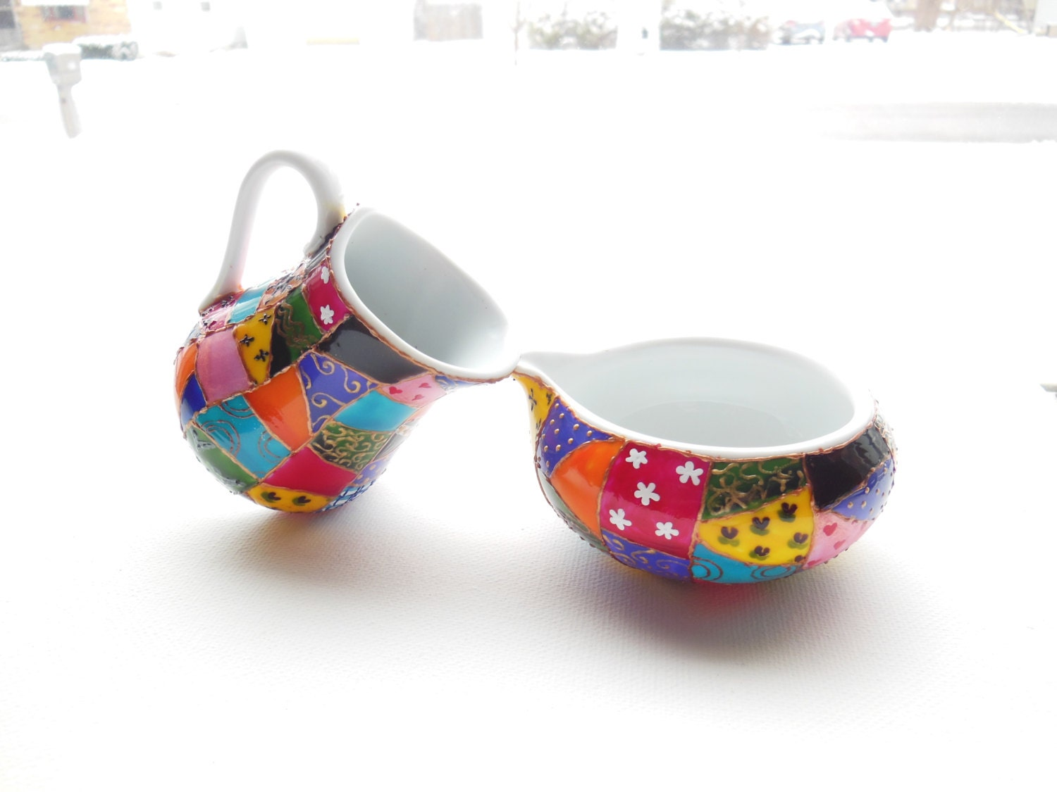 Colorful Patchwork -  Unique One of a Kind Hand Painted - Ceramic Creamer and Sugar Set - ElvenBells