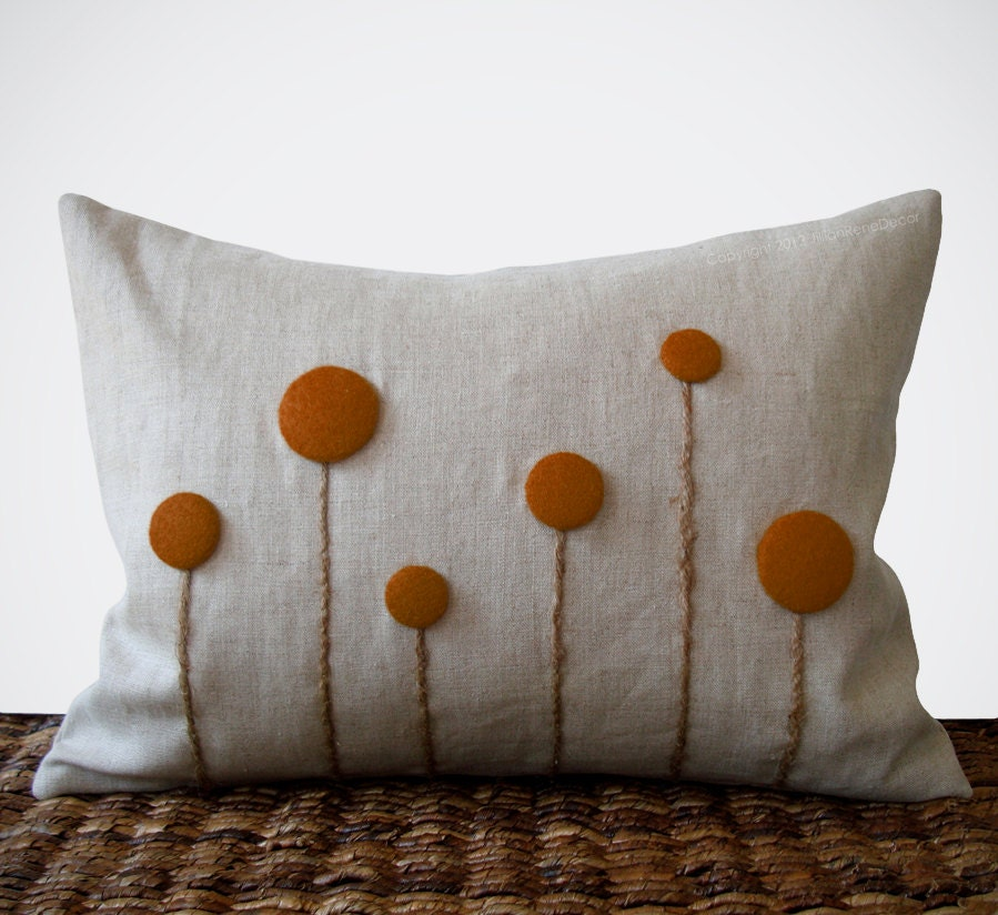 Rust Billy Ball Flower Pillow in Natural Linen by JillianReneDecor Billy Button Craspedia Botanical Winter Home Decor Copper Burnt Orange - JillianReneDecor