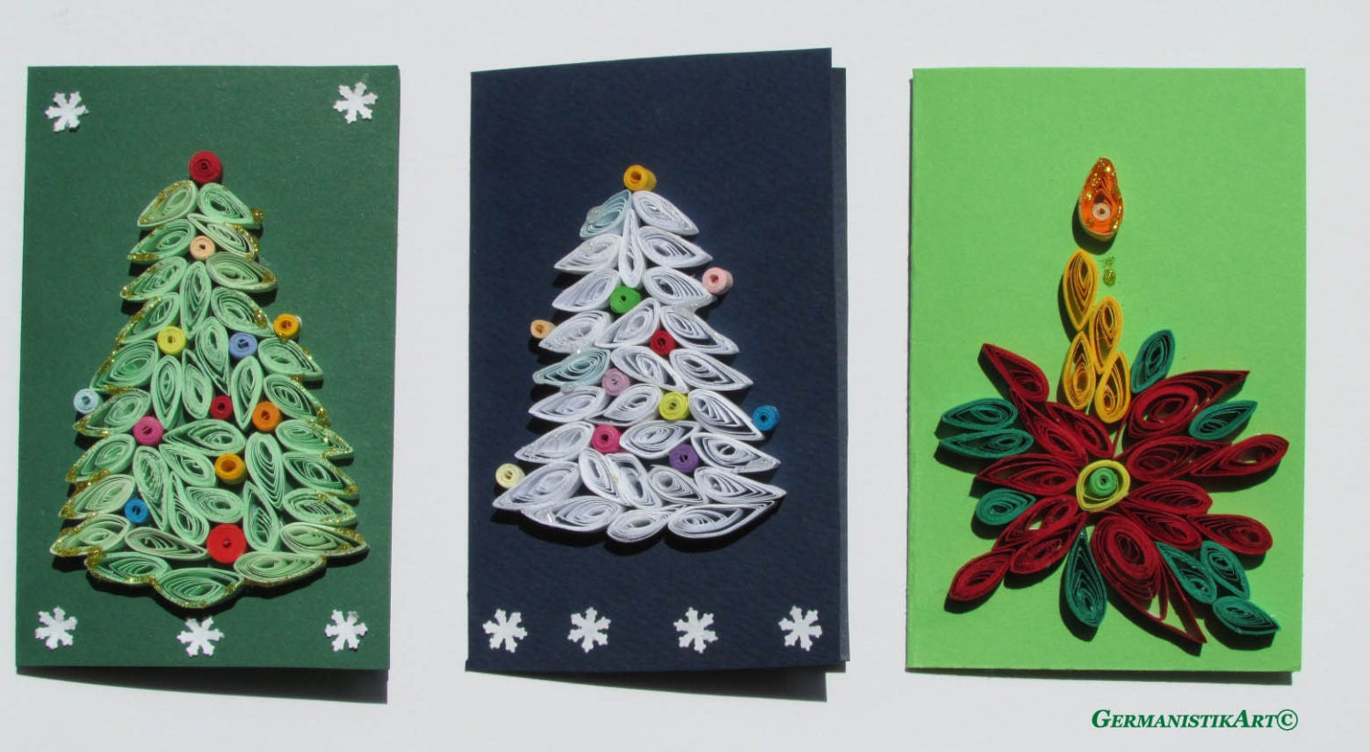 Christmas Quilling Set of 3 Quilled Paper Cards - GermanistikArt