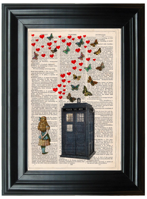 Tardis, Butterfly, Alice In Wonderland antique book print