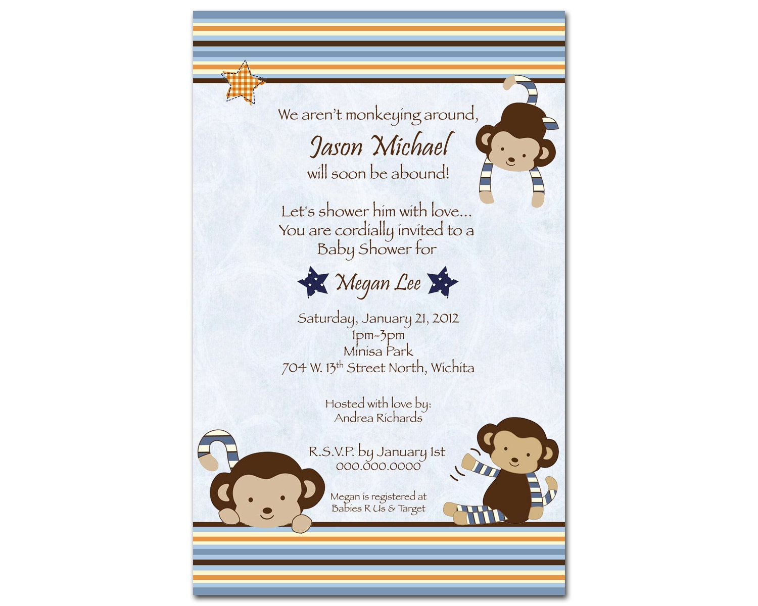 free printable monkey baby shower invitations for boys