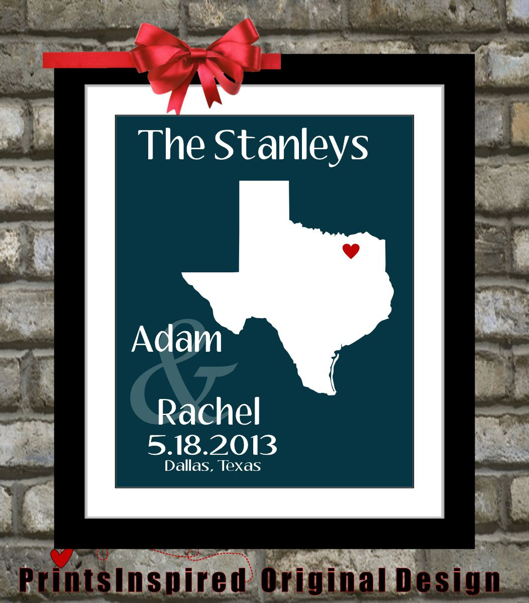 Unique Wedding Gifts Dallas : Personalized Texas Wedding Map Gift: ANY State Art Custom Wedding ...