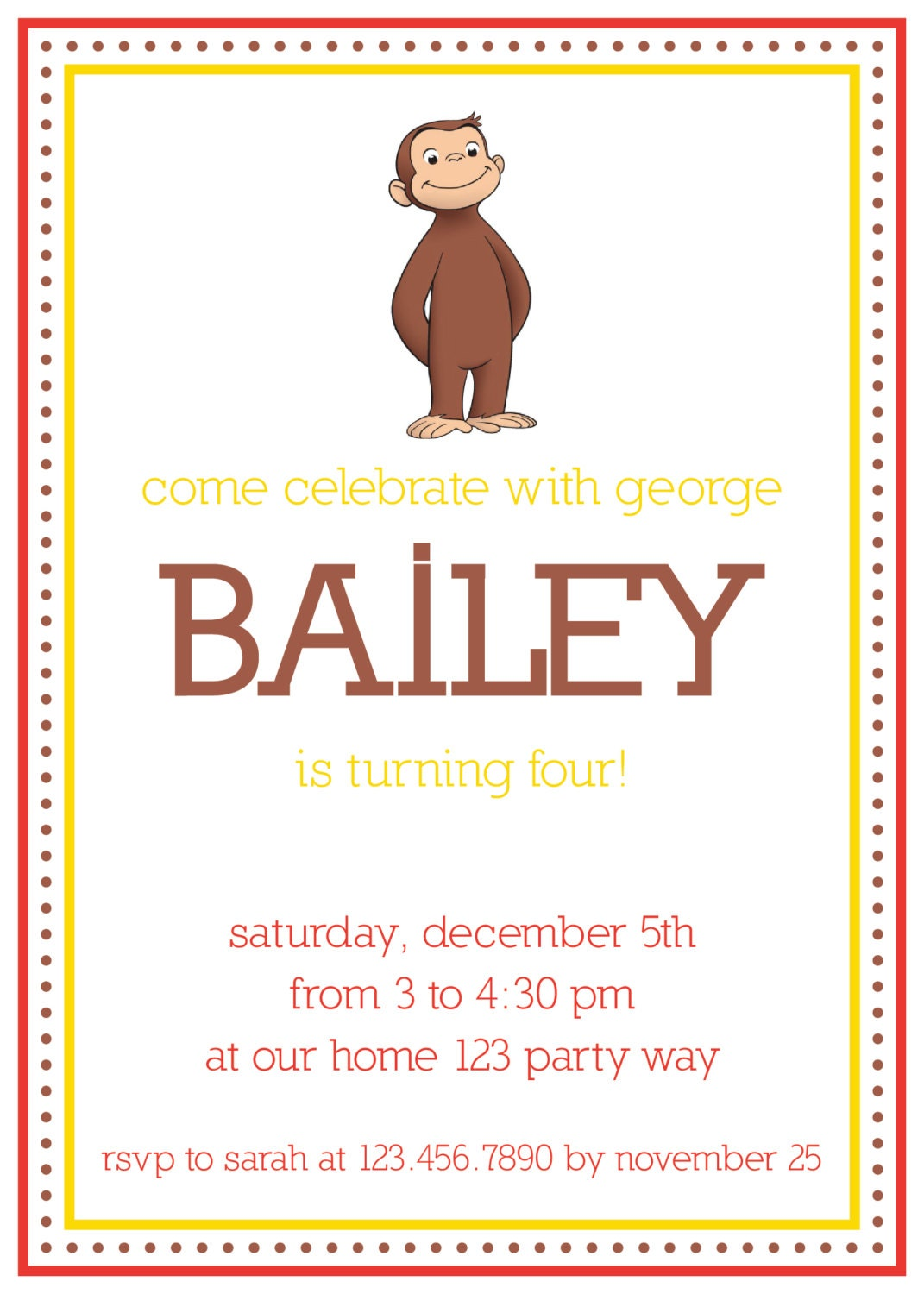 Curious George Party Invitations correctly perfect ideas for your invitation layout