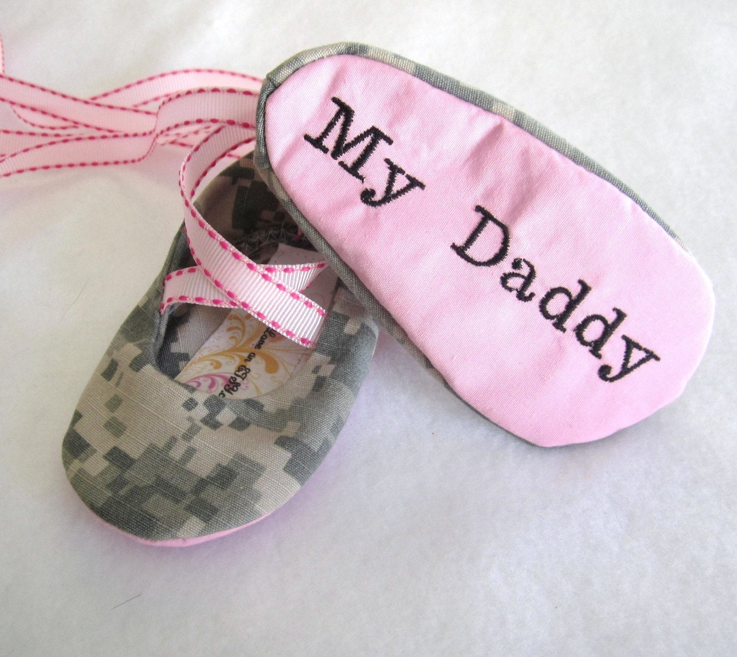 """MILITARY BALLET, Baby Shoes, """"I """"heart"""", My Daddy"""" Embroidered ANY Military Branch - mysweetbabylove"""