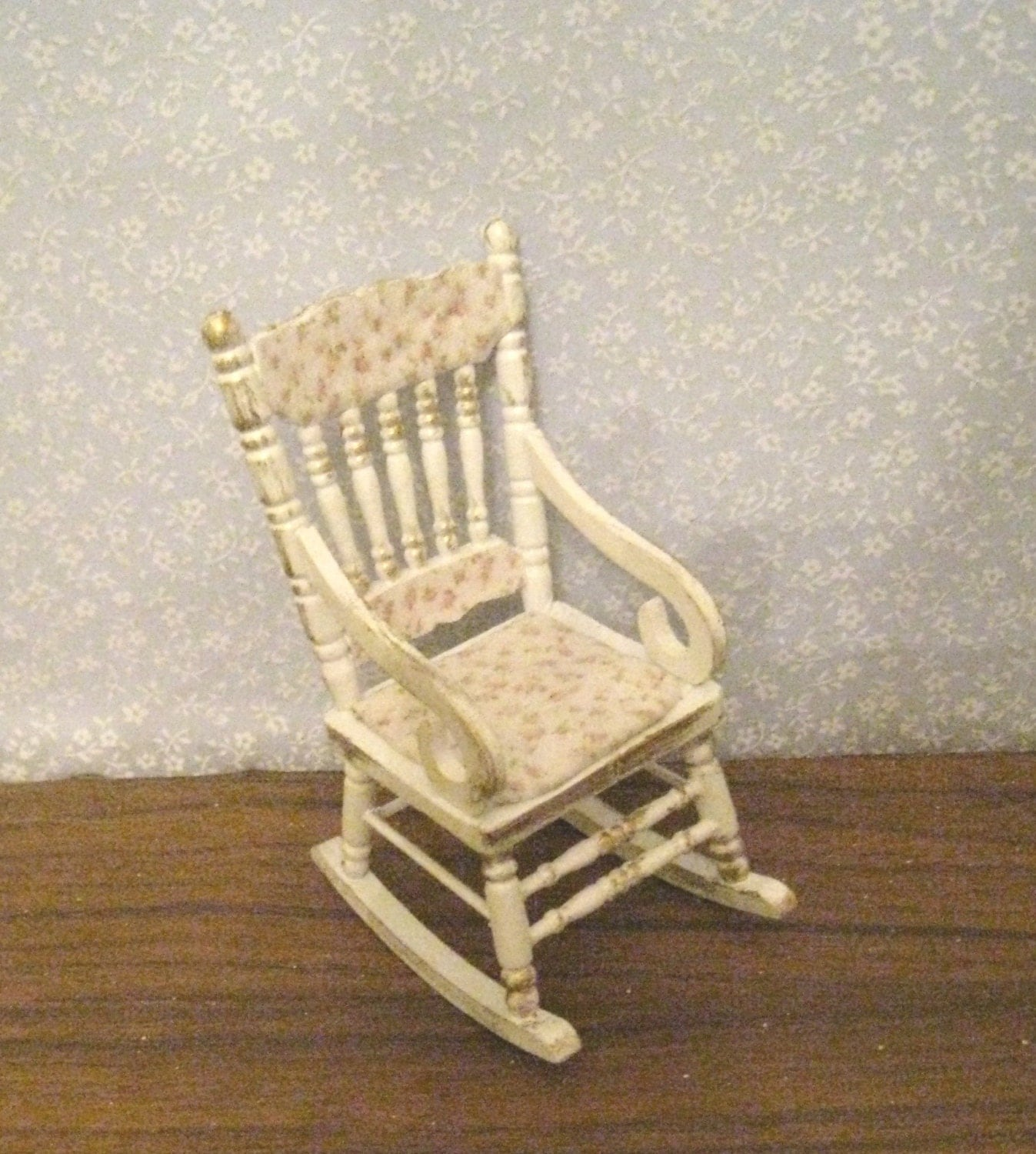 Shabby Chic Rocking Chair, distressed white with rose bouquets ...