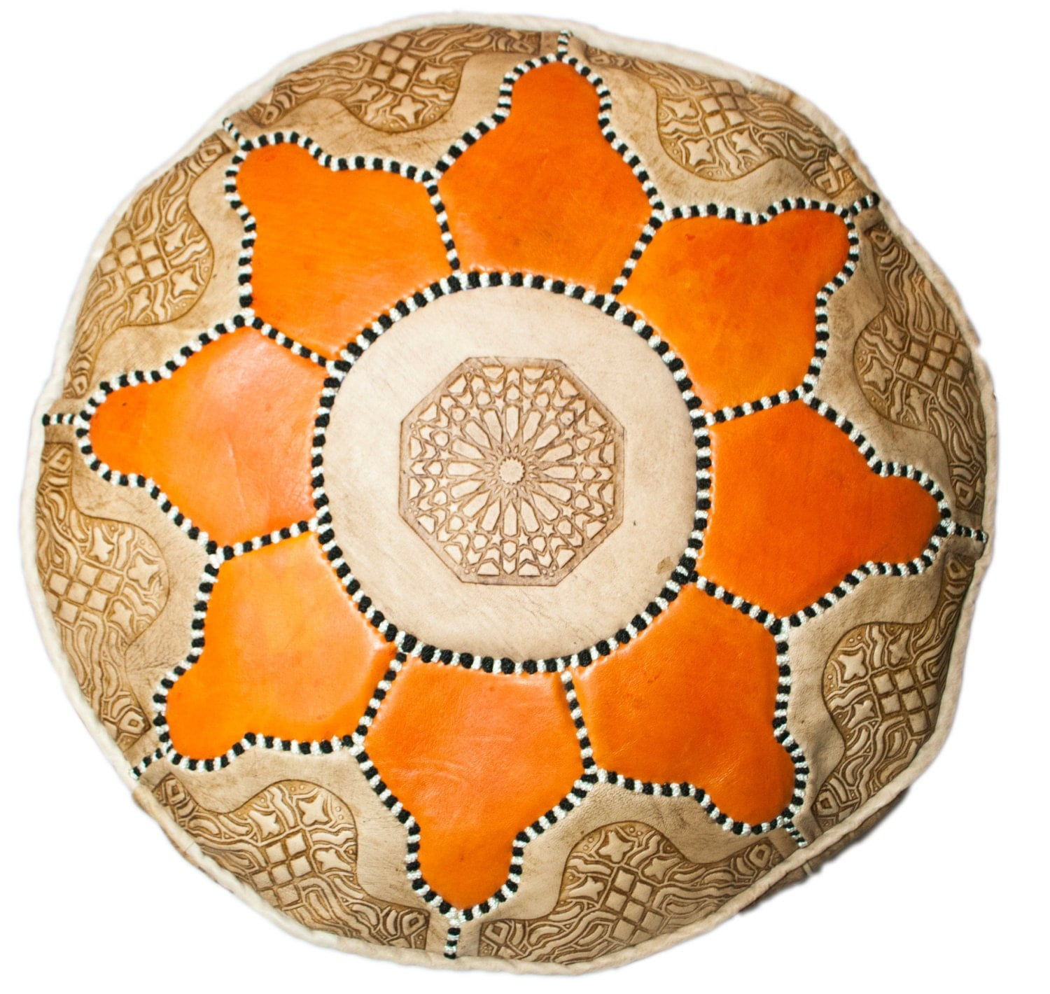 Moroccan Leather Pouffe Orange Flower Leather Pouf  Leather Ottoman  Leather Footstool  Storage Pouffe  Art Deco Furniture