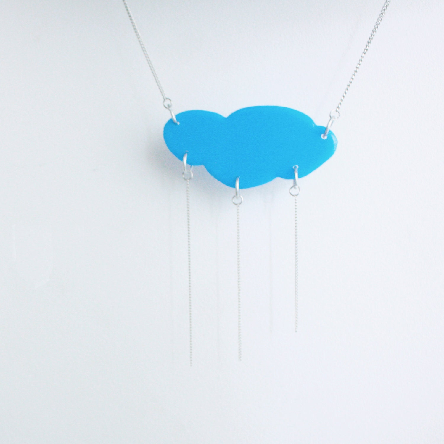 Blue Sky cloud statement neclace - Acrylic and silver plated metal - HelenaRibeiro