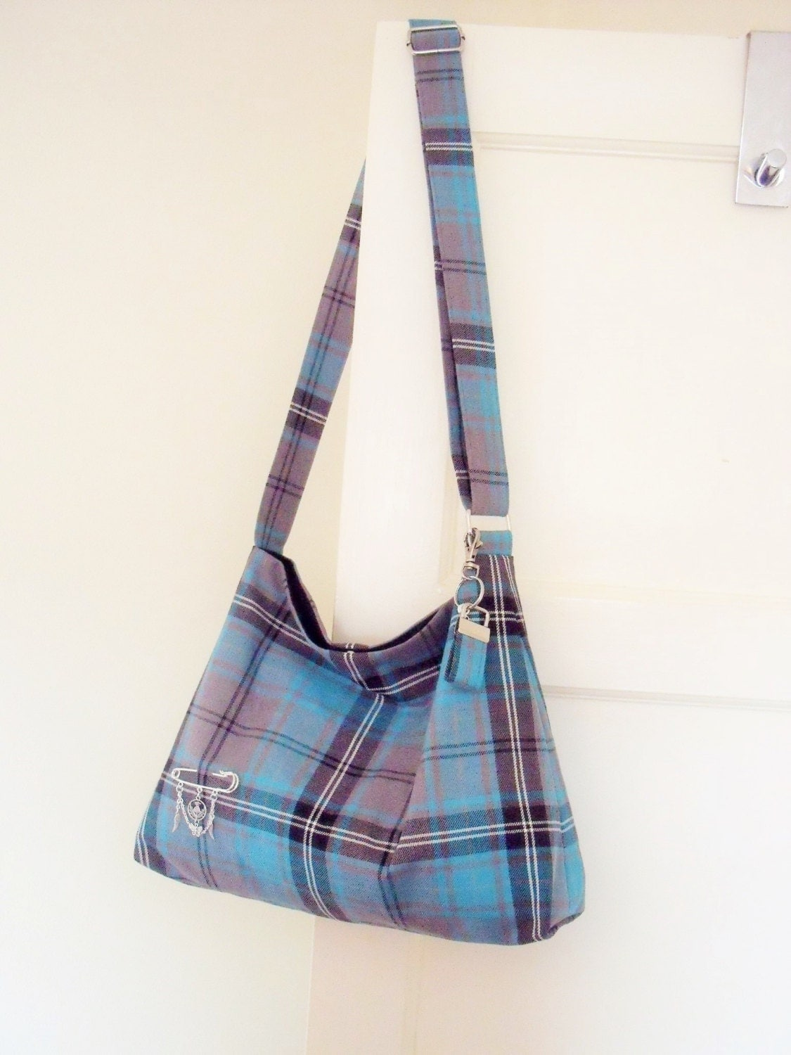 Tartan Messenger  Slouchy Bag Cross body Shoulder Bag  Turquoise  Grey Plaid Purse  Handbag  Purse handmade in Scotland gift for her