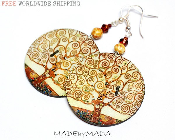 Klimt - Tree of life motif Earth tones decoupage jewelry Brown Ecru Beige, gift for her under 25 - MADEbyMADA