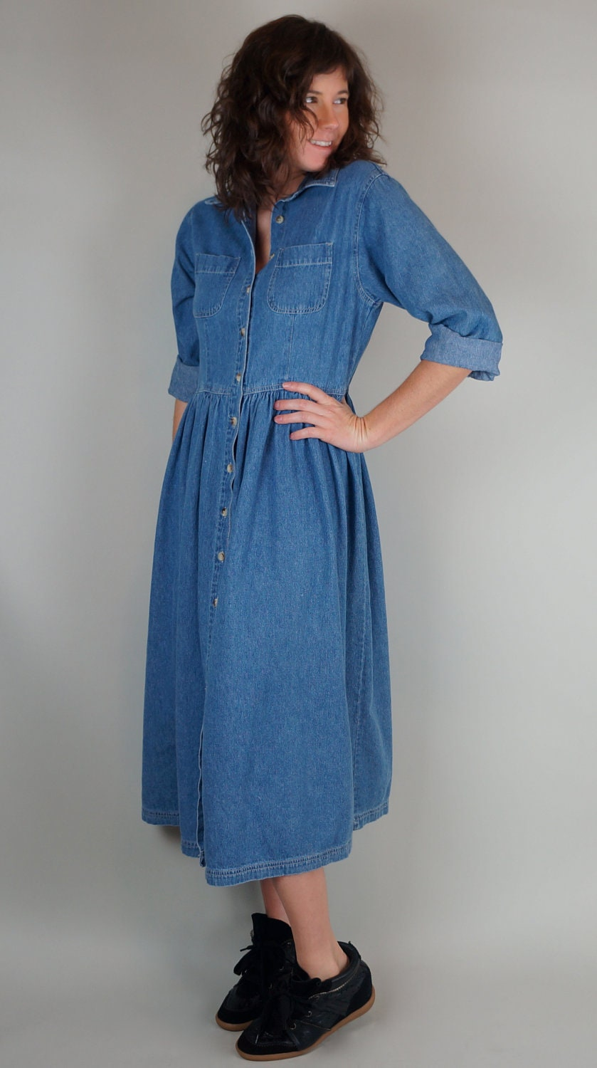 Long Sleeve Denim Midi Button Up Dress Size by LocapoxieVintage