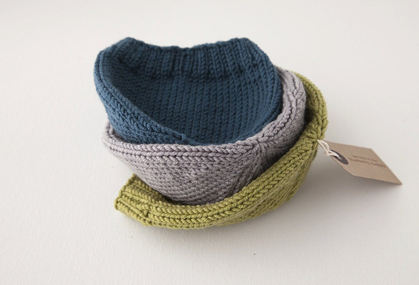 Hand knit baby hat. Merino wool in slate. 'MALLOW' - TheBlueberryElephant