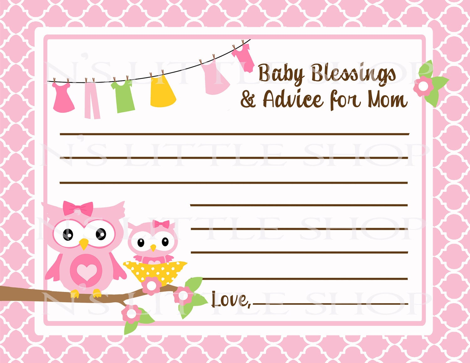 items similar to owl baby shower advice card for the mom to be on etsy