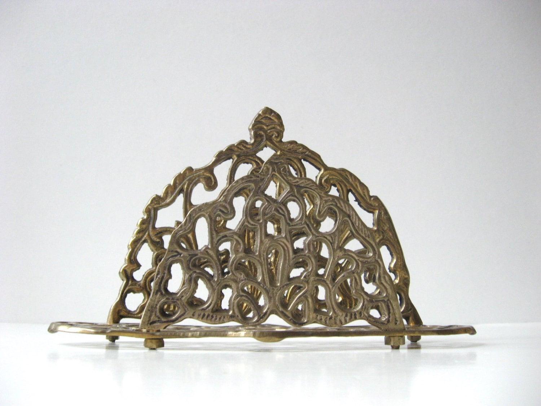 Vintage Ornate Brass Letter Rack / Napkin Holder - TheHiddenGrove