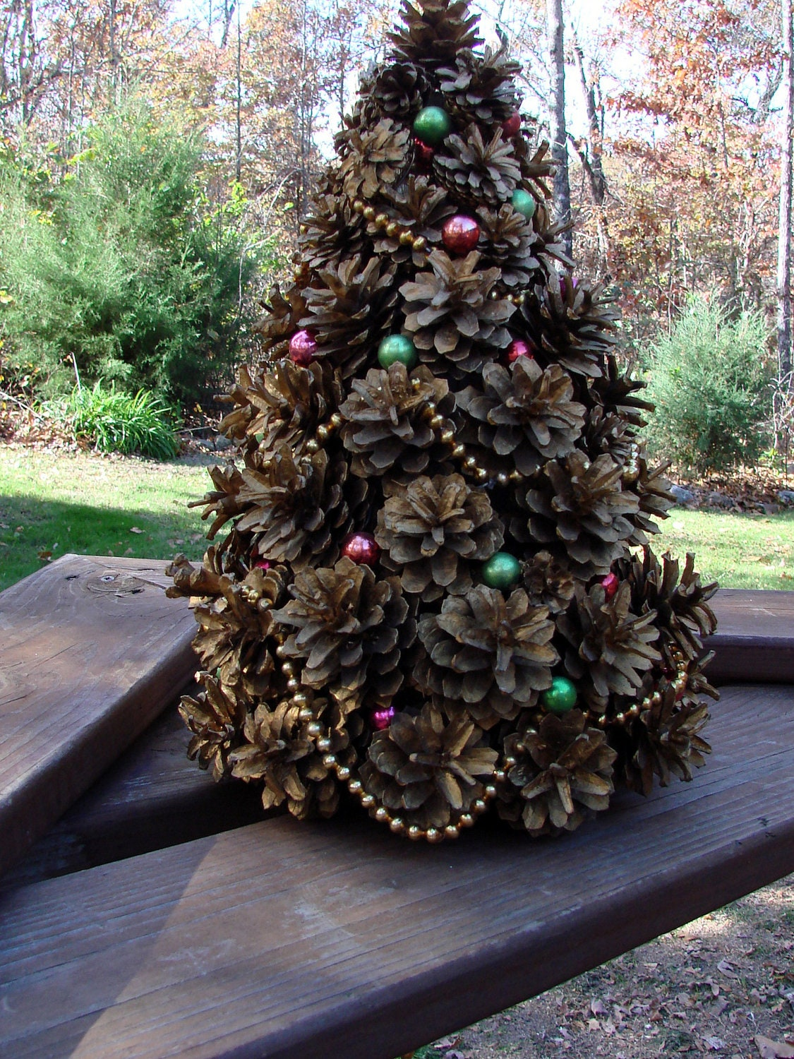 Vintage 1962 Handcrafted Pine Cone Christmas Tree By