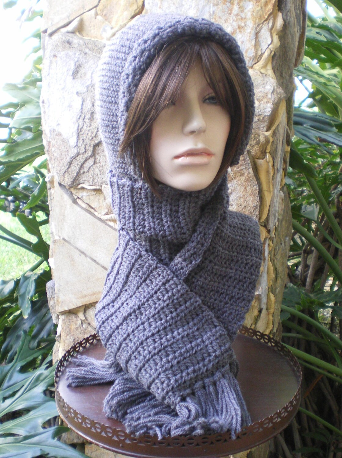 hand knit hood scarf hat hand crochet wool attached by annmag