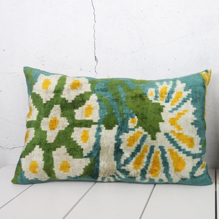 16 x 25 Decorative Pillow Accent Pillow Throw Pillow Ikat Pillow Cover Silk Pillow Green Velvet Ikat Cushion - 03393-112