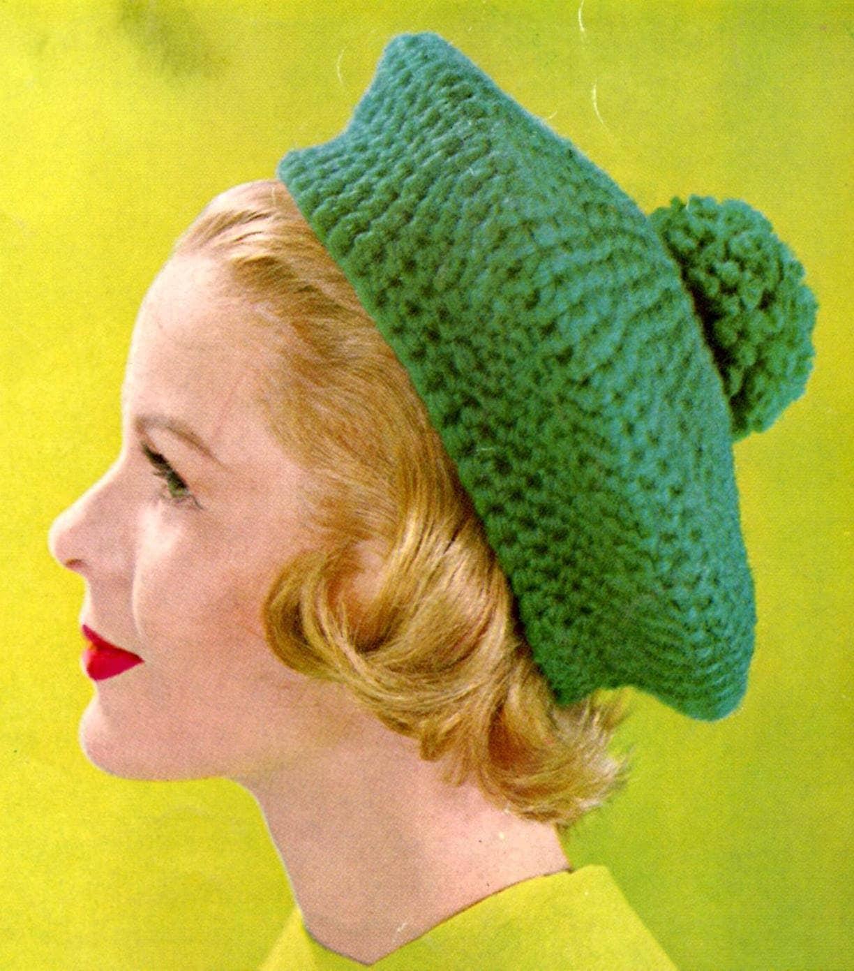 Crochet Beret Hat Pattern Easy : Easy Vintage Crochet Hat Beret Pattern by kayscrochetpatterns
